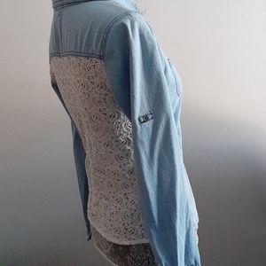 Rebellion denim and lace shirt